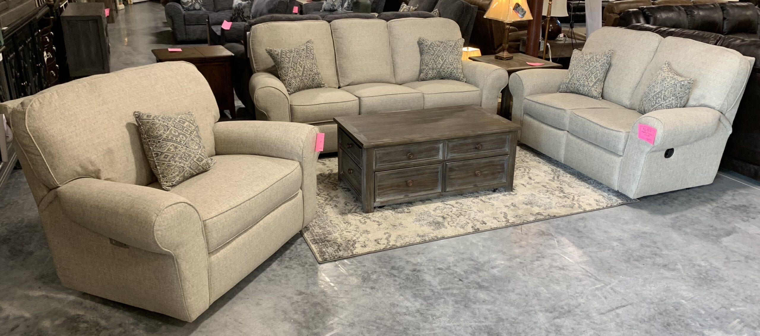 A Lane power reclining sofa, loveseat, and chair set.